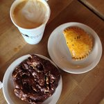 Chicken empanadas, rocky road cookie, latte ... Yum