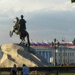 Bronze horseman: in the background line of Russian flags and thunderstorm clouds (summer 2013)