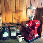 Hobart coffee grinder still in daily use grinding a good selection of Pumphrey's beans. Fantasti