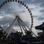 View of Ferris Wheel and attractions on Navy Pier