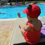 Mya enjoying by the pool