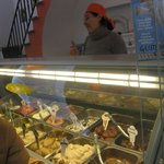 Idoya, the owner of Zini, serving gelato