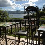outside resto with view of lake