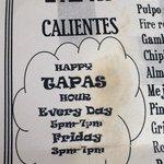 B44 menu advertising their Happy Hour