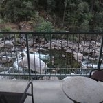 View from our balcony, onto the rapids of the Merced River