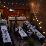 Wedding reception on the outdoor patio