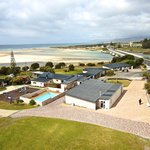 An overall view of our stunning waterfront location, playground & pool
