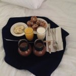 Delicious breakfast served in bed