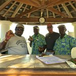 Big John, Berthold, myself and Eddy. The awesome beach services staff!