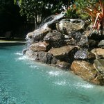Sparkling waterfall at pool