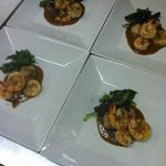 Shrimp and scallops with Thai peanut sauce.