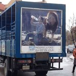 a water truck parked outside - this is as close as a lion will get to the front door