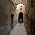 Out the door - you are right in the maze of the old city (medina)
