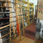 A mixture of Chinese & Japanese swords in the antique shop