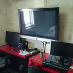 Our room with big tv and two pc:s.