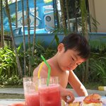 lunch with watermelom juice at the pool