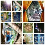 Collage of images of our B&B, the yard, Safed, and the region