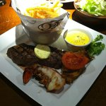 Steak with Grilled half Lobster Tail