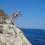 cliff jumping at the back of the hotel.
