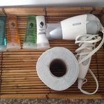 Toiletries and blowdryer