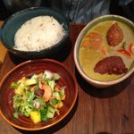 Coconut curry with falafel mango and papaya