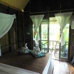 inside wooden garden bungalow