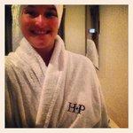 Me enjoying the snugly bathrobe