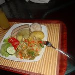 First meal...ackee and saltfish with ground food