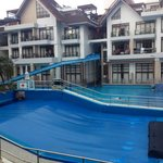 wave pool with giant slides