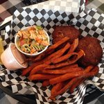 Crab cakes and sweet potato fries- delicious!