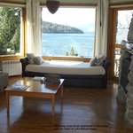 The living room of our suite, with a view to Lake Nahuel Huapi