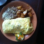 Huge Omelet with beans and delicious potatoes