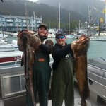 Two big Ling Cod on board Fair Chase