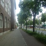 hostel's street coming from the central station (an der weide)