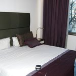 Huge double bed, with really good curtains.