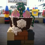 outdoor eating area of hotel & entrance of legoland