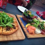 Pizza of the day and platter for two