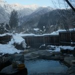 Private open air onsen in January.