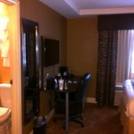 Good size TV and coffee maker in room, plus a bar fridge