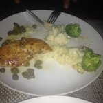 Mission lemon chicken with olives, mashed potatoes, broccoli