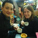 Tony and Rebecca drinking weasel poo coffee