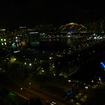 View at night of Darling Harbour from room