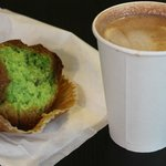 Pistachio muffin and mexican mocha