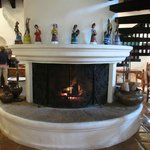 Fireplace in dining hall