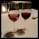 A glass of Pineau de Charentes and a glass of 20-year Tawny Port