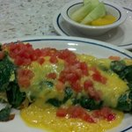 Spinach and mushroom omelet, fresh and lovely