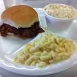My meal: BBQ Pork Sandwich, mac & cheese, and cole slaw
