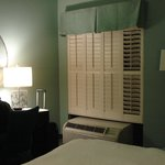Shutters not curtains, very easy to operate and kept out light