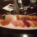 sushi and cold sake