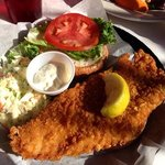 Crunchy fish (Grouper) sandwich. Hit the spot but could do with a little more spice but that's j